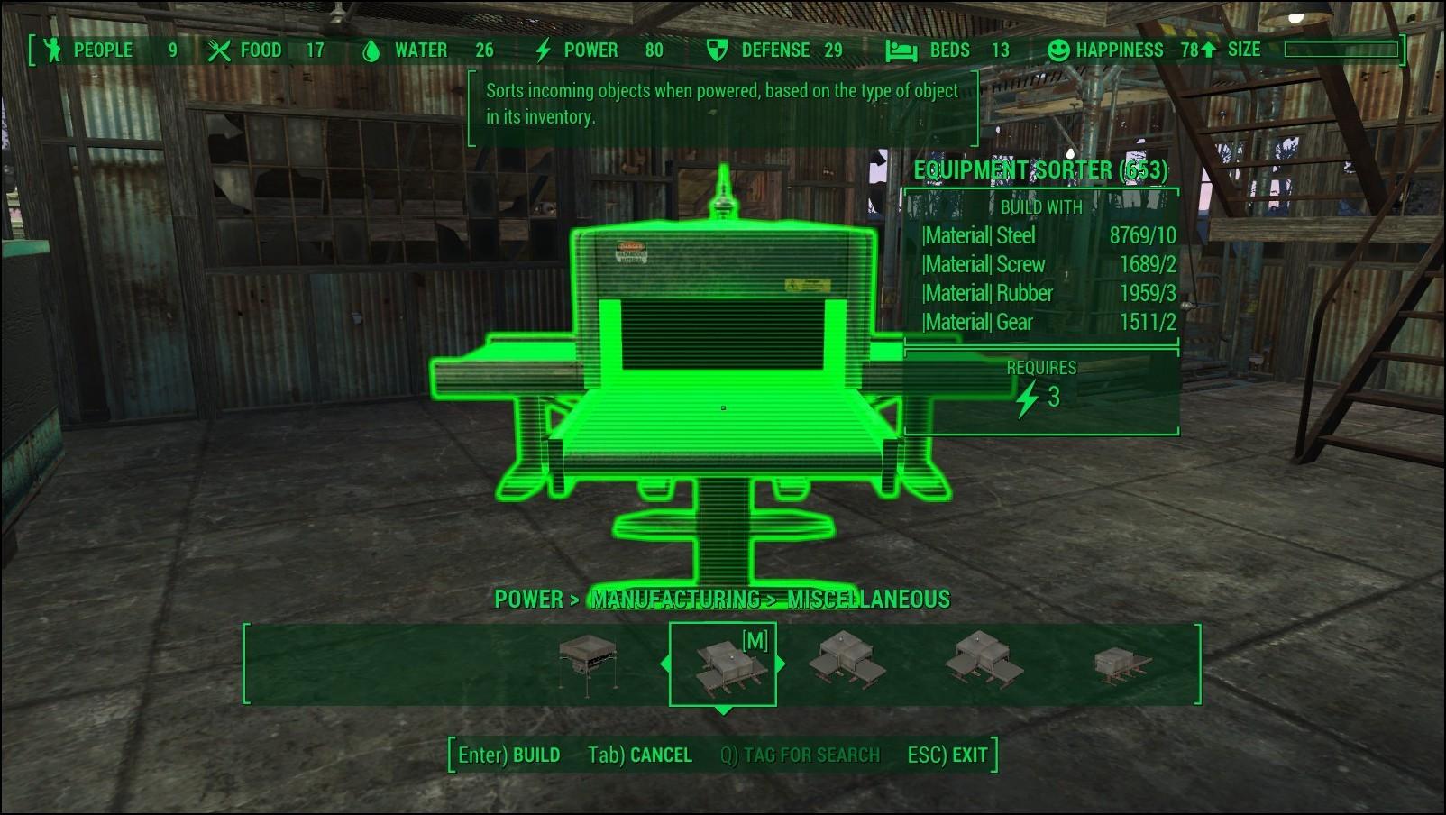 Сортировщик экипировки в Fallout 4
